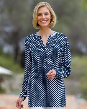 Evelyn Supersoft Viscose Pintuck Tunic - Polka dot
