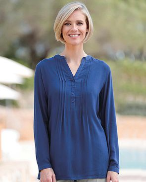 Evelyn Supersoft Viscose Pintuck Tunic - Sapphire