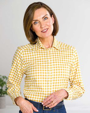 Belinda Checked Pure Cotton Blouse  - Maize