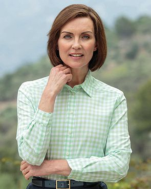 Belinda Checked Pure Cotton Blouse  - Mint