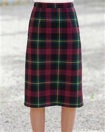Cambourne Wool Blend Checked  Straight Skirt