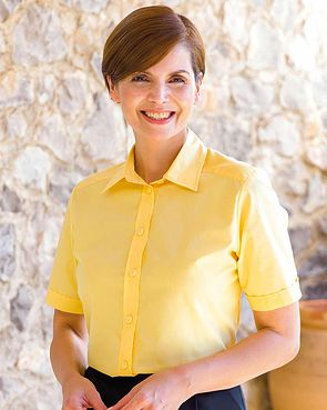 Easycare Short Sleeve Plain Polycotton Shirts - Lemon