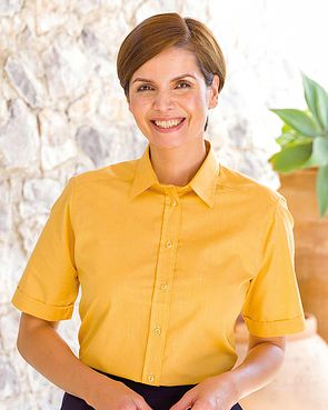 Easycare Short Sleeve Plain Polycotton Shirts - Mustard