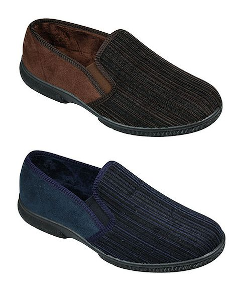 Men 39 S House Shoe In Brown Or Navy Wide Fit For Comfort