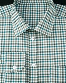 Tattersall Check Pure Cotton Twill Long Sleeve Shirt in Teal and Green