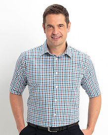 Pure Cotton Short Sleeve Blue,Wine and White Check Shirt