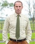Tattersall Check Cotton and Wool Shirt in Green, Blue and Orange.