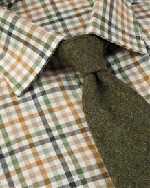 Ascot Tattersall Check Cotton & Wool Shirt