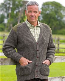 Green Fishermans Rib Cardigan  Mens