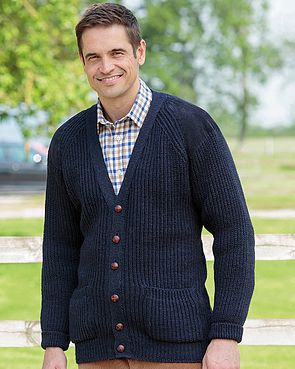 Navy Fishermans Rib Cardigan  Mens