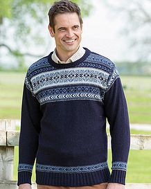 Navy Crew Neck Fairisle Sweater  Mens