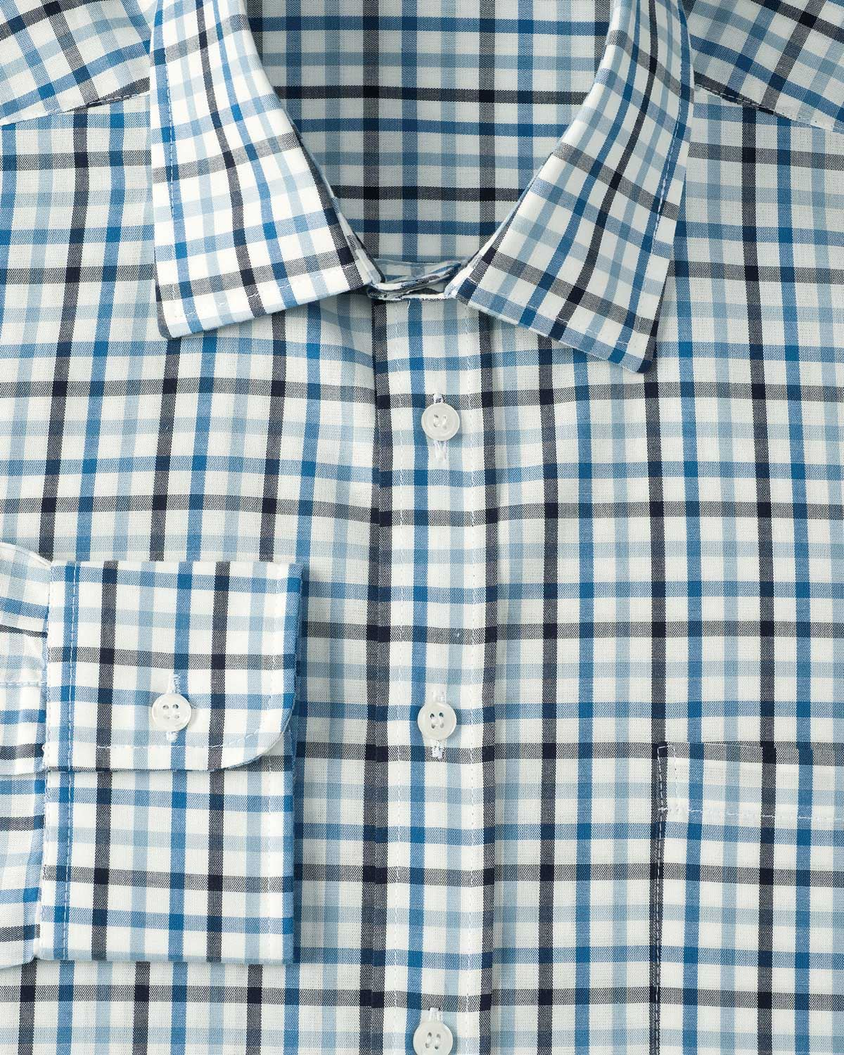 Casual Long Sleeve Blue and Brown Check Shirt