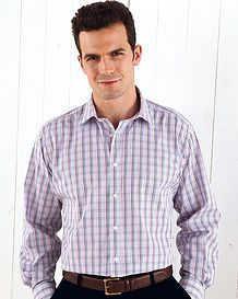 Long Sleeve Casual Shirt Purple Blue Check