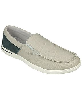 Padders Lightweight Canvas Slip-On Loafer Style Shoe in Beige and Charcoal