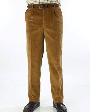 Corduroy Trousers  Mens - Pale Brown
