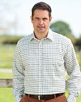 Tattersall Check Pure Cotton Twill Shirt Blue, Green, Brown