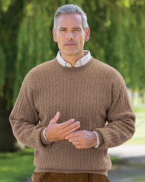Cable Crew Neck Sweater  Mens - Camel