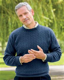 Cable Crew Neck Sweater  Mens