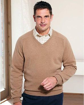 Lambswool V Neck Sweaters  Mens - Camel